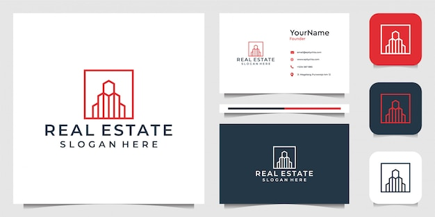 Immobilien mit strichzeichnungen. gut für business, gebäude, bau, marke, werbung und visitenkarte