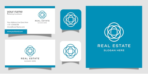 Immobilien mit visitenkarte des strichgrafikstil-logoentwurfs