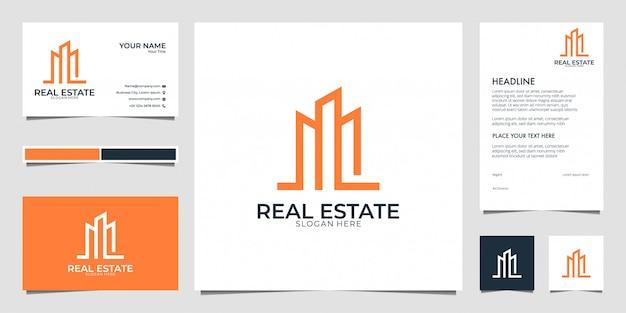 Immobilien mit visitenkarte und briefkopf des logo-designs im strichgrafikstil