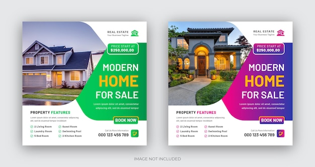 Immobilien modernes haus zum verkauf social media post oder quadratisches web-banner