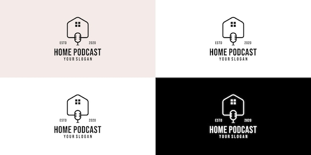 Immobilien-podcast-logo-vorlage. podcast-home-kommunikationslogo