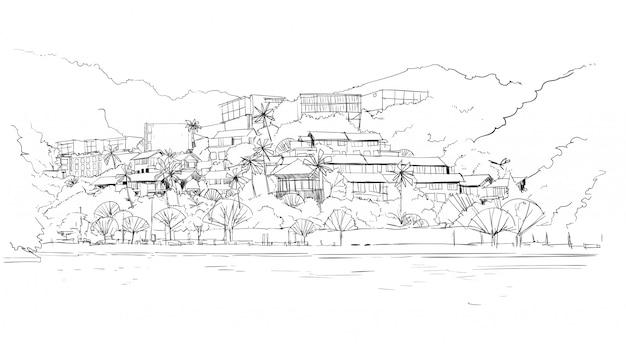 Immobilien-schattenbild-großes modernes landhaushaus im tropischen wald skecth