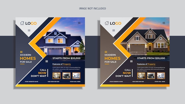 Immobilien social media post design 2 in 1 packung mit blauen mehrfarbigen abstrakten formen.