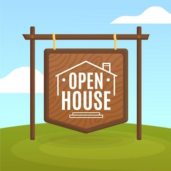 Immobilien tag der offenen tür zeichen konzept