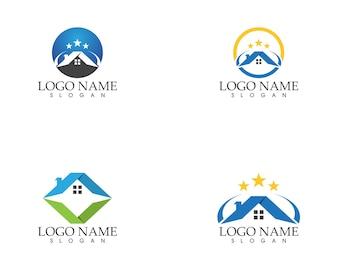 Immobilien und Gebäude zu Hause Logo Vorlage