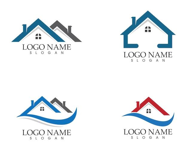 Immobilien- und hauptgebäudelogo-ikonenschablone