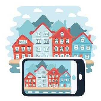 Immobilien- und immobiliengeschäft. stadt auf dem tablet oder telefon. wohnung lokalisiert auf weißem hintergrund.