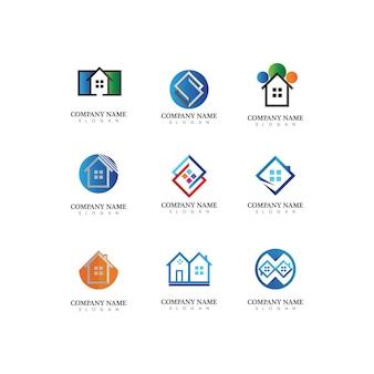 Immobilien- und wohngebäude-vektorlogoikonenschablone