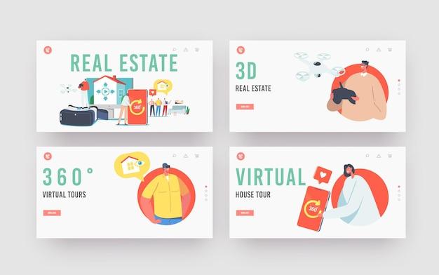Immobilien virtuelle tour landing page vorlagensatz. makler und kunden wählen wohnung zum kauf oder zur miete. winzige charaktere bei riesigem smartphone und vr-brille. cartoon-menschen-vektor-illustration