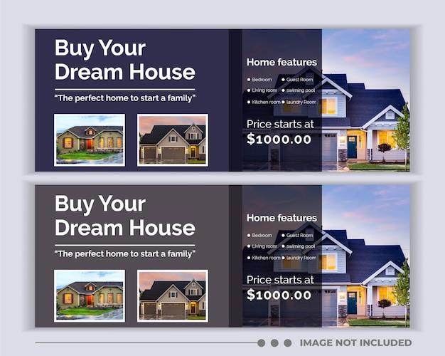 Immobilien web banner social media facebook cover vorlage