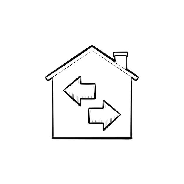 Immobilien-wiederverkauf handgezeichnete umriss-doodle-symbol. haus mit pfeilen. immobilien, verkauf, wiederverkauf, wohnkonzept