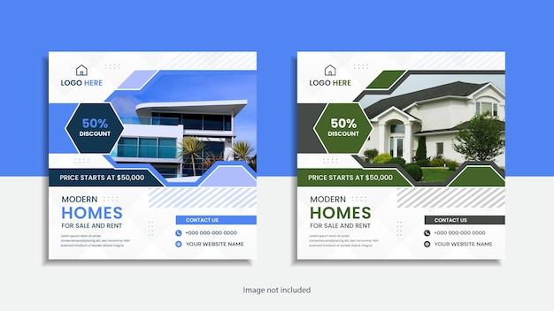 Immobilien zum verkauf instagram post oder social media post sauberes design.