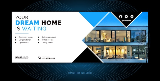 Immobilienagentur home sale social media cover, social media banner vorlage design.