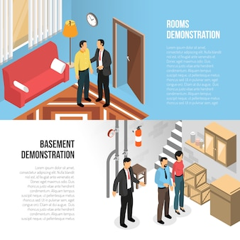 Immobilienagentur-horizontale fahnen