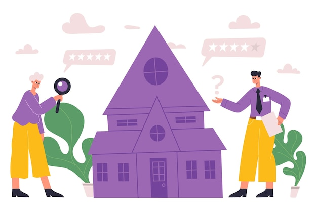 Immobilienbewertung, bewertung, hausinspektionskonzept. immobilienmakler, die hausinspektionsvektor illustration tun. professionelle immobilienbewertung