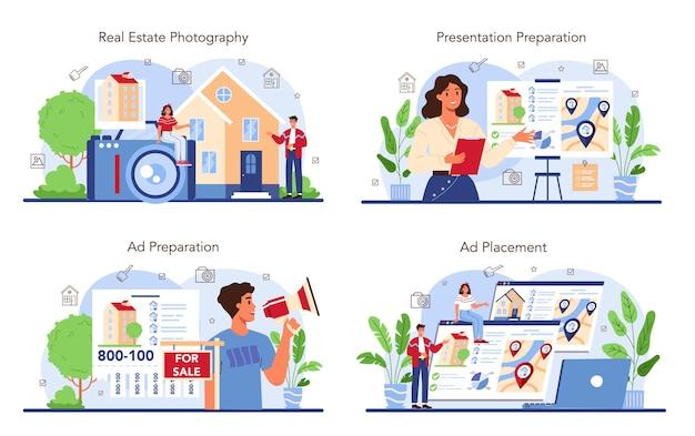 Immobilienbranche eingestellt. immobilienverkaufswerbung, wohnungsmietanzeige. präsentation und fotografie des maklerhauses. flache vektorillustration