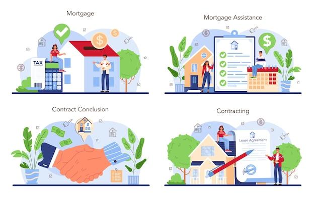 Immobilienbranche oder immobilienmakler-konzeptsatz. unterstützung des maklers und hilfe bei hypothekenverträgen. immobiliendarlehen und kredit. investitionen in immobilien finanzieren. flache vektorillustration