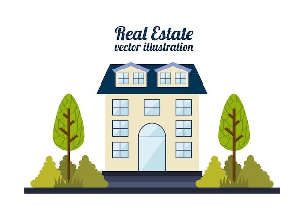 Immobiliendesign über weißer hintergrundvektorillustration