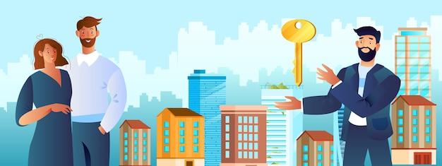 Immobiliendienstleistungskonzept mit jungem paar, das nach neuem haus, makler, schlüssel, architektur sucht.