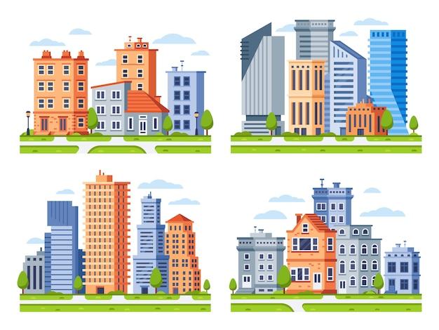Immobiliengebäude. stadthausstadtbild, stadtwohngebäude und städtischer wohnviertelillustrationssatz