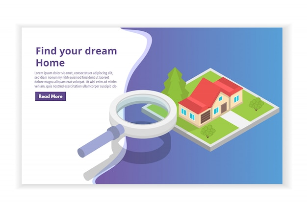 Immobilienhaus auf einem isometrischen konzept der kartensuche. illustration