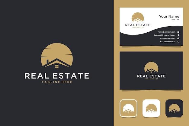 Immobilienhaus mit sonnenuntergang-logo-design und visitenkarte