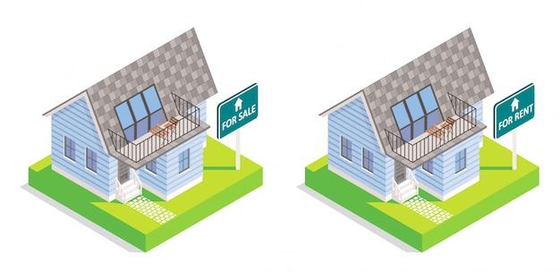 Immobilienhausvektor isometrisch lokalisiert