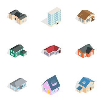 Immobilienikonen eingestellt, isometrische art 3d