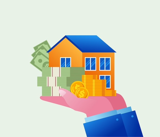 Immobilieninvestitions- und entwicklerkonzept, flaches vektorillustrationsbanner und landingpage