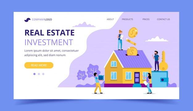 Immobilieninvestitionslandungsseite - konzeptillustration für die investition Premium Vektoren