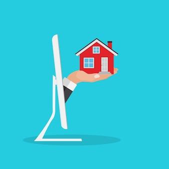 Immobilienkonzept. kaufen sie hausplakat mit männerhänden, die geld für das hauptgebäude bezahlen. illustration