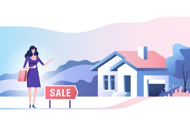 Immobilienkonzept. makler und haus zu verkaufen. kauf und verkauf von immobilien.