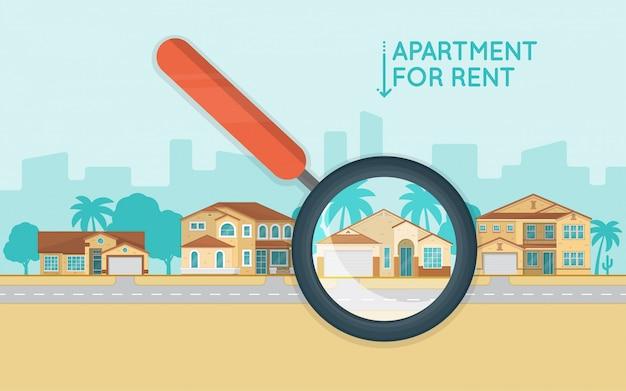 Immobilienkonzept mit der anzahl von häuschen auf der straße.