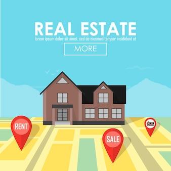 Immobilienkonzept mit haus für verkauf und mietsymbolvektorillustration