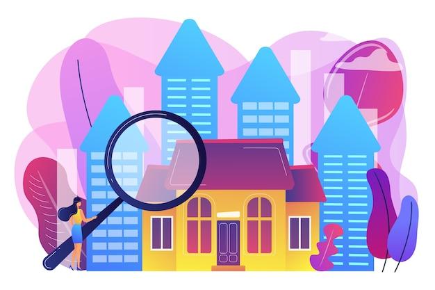 Immobilienkunde mit lupe auf der suche nach immobilien zum verkauf. immobilienmarkt, immobilientransaktionen, immobilienmarktkonzept. helle lebendige violette isolierte illustration