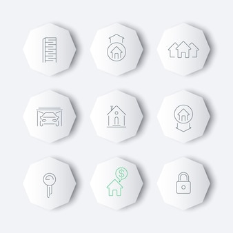 Immobilienlinie icons set, vektor