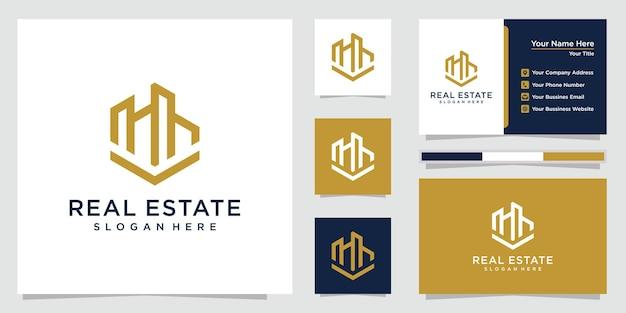 Immobilienlogo mit strichzeichnungen. immobilienzusammenfassung für logo- und visitenkartendesign