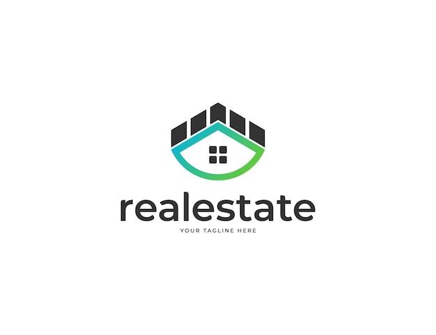 Immobilienlogodesign mit hausdachkonzept