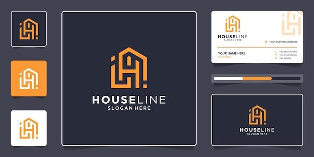 Immobilienlogoschablone mit visitenkarte. kombinieren sie das minimalistische design des haus- und buchstaben-h-linienlogos.