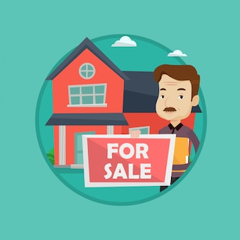 Immobilienmakler bietet haus.