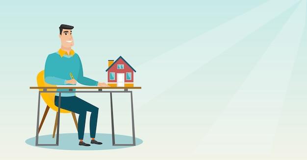 Immobilienmakler, der hauptkaufvertrag unterzeichnet.