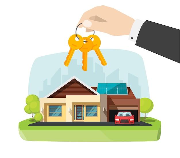 Immobilienmakler, der neue hausschlüssel in der hand nahe der modernen hauptwohnung zeigt. flache karikaturillustration