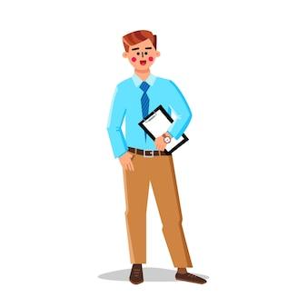 Immobilienmakler, der vereinbarung hält vektor. professioneller versicherungs- oder handelsmakler, junger mann, agenturmitarbeiter halten dokument. charakter-geschäftsmann-flache karikatur-illustration