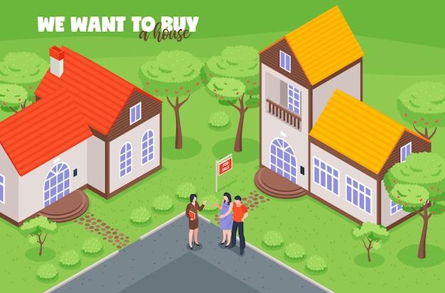 Immobilienmakler mit kundenkäufern beim betrachten der isometrischen vektorillustration des hauses zum verkauf