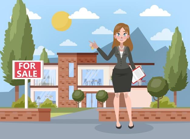 Immobilienmakler- oder maklerkonzept. großes haus- oder wohnungsverkaufsangebot. lächelnde frau stehend und hält schlüssel und zwischenablage mit vertrag darauf. illustration
