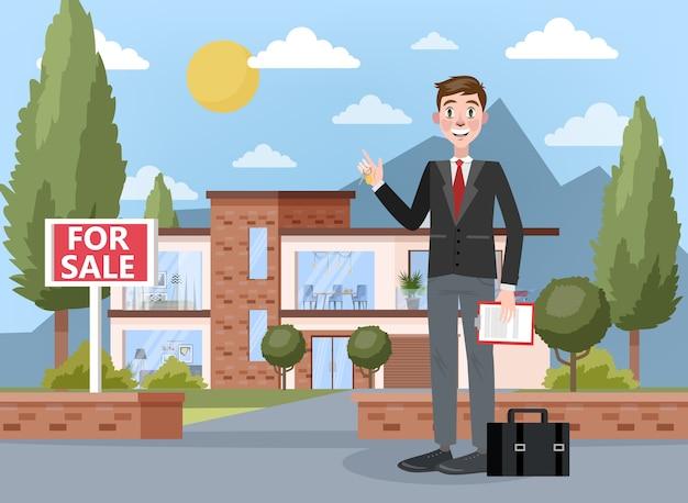 Immobilienmakler- oder maklerkonzept. großes haus- oder wohnungsverkaufsangebot. lächelnder mann stehend und hält schlüssel und zwischenablage mit vertrag darauf. illustration