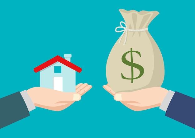 Immobilienmakler übergeben ein haus an einen käufer