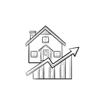 Immobilienmarkt-wachstumsdiagramm handgezeichnete umriss doodle-symbol. immobilienpreis-, investitions- und finanzierungskonzept