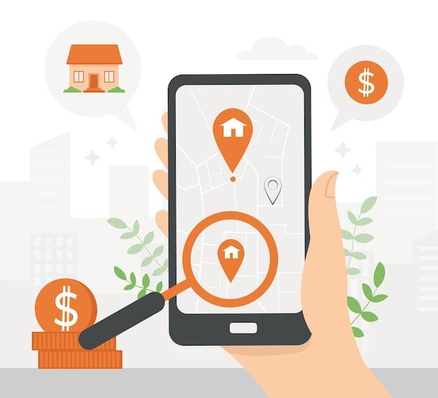 Immobiliensuche auf smartphone