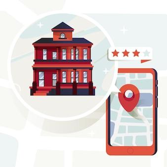 Immobiliensuchkonzept mit telefon